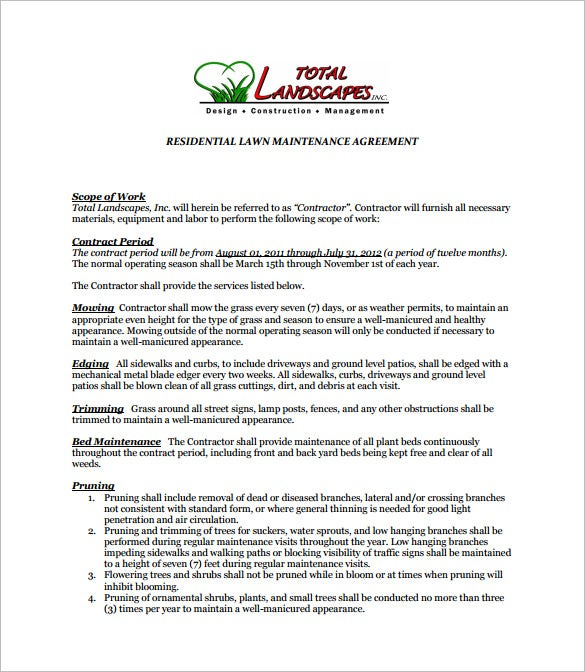 7 Lawn Service Contract Templates Free Word PDF Documents – Property Maintenance Contract Template
