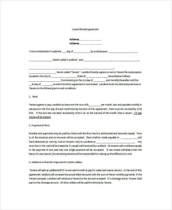 lease rental agreement template1