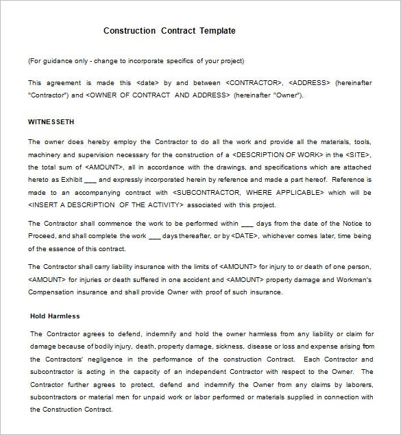 Legal Construction Contract Template Free Download