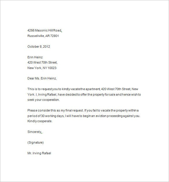 sample eviction notice 9 sample eviction letter to family member – How to Write a Letter of Eviction