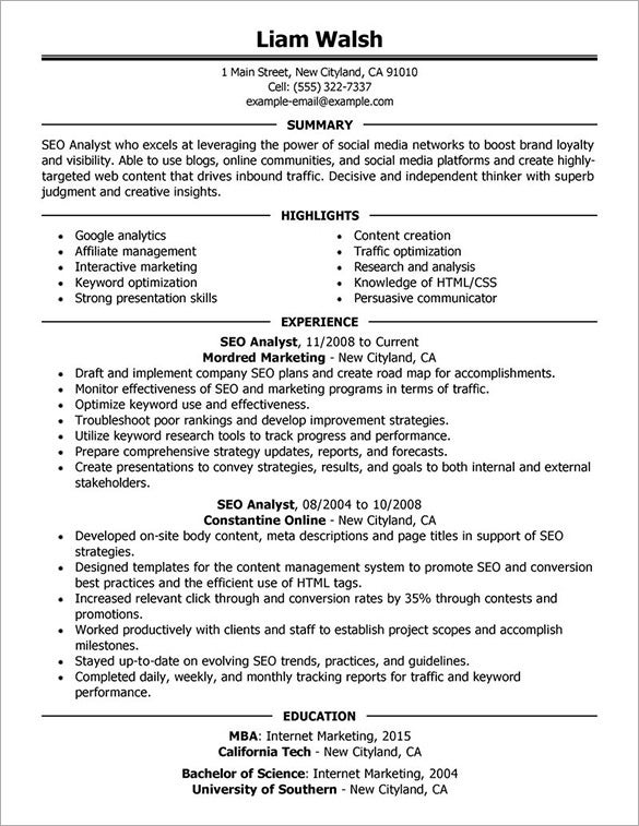 Seo Resume Template – 12+ Free Samples, Examples, Format Download