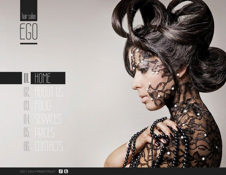 Light & Dark HTML5 Website Template for Hair Salon
