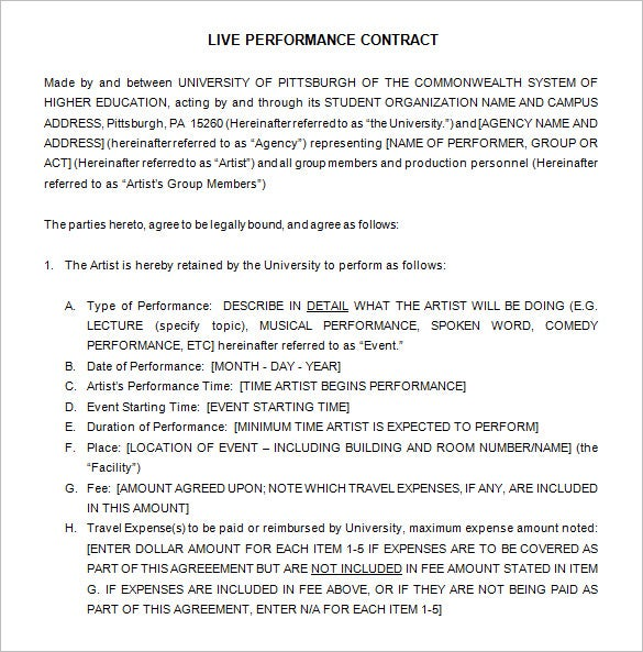 Doc575709 Sample Artist Contract Template Artist Agent – Performance Contract Template