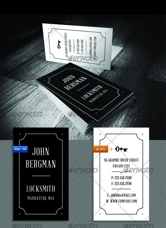 locksmith indesign visit card psd template