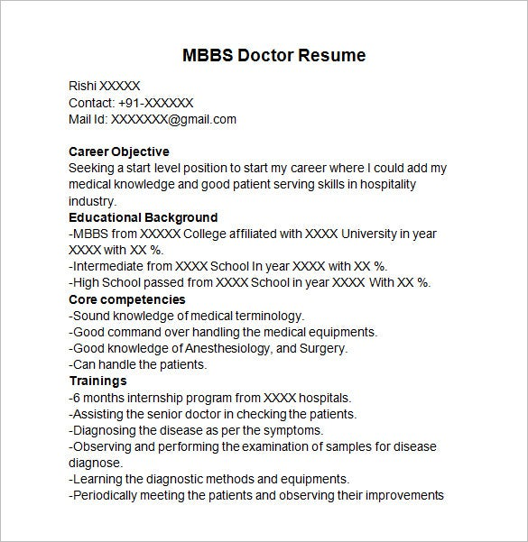 mbbs doctor resume template - Doctor Resume Template