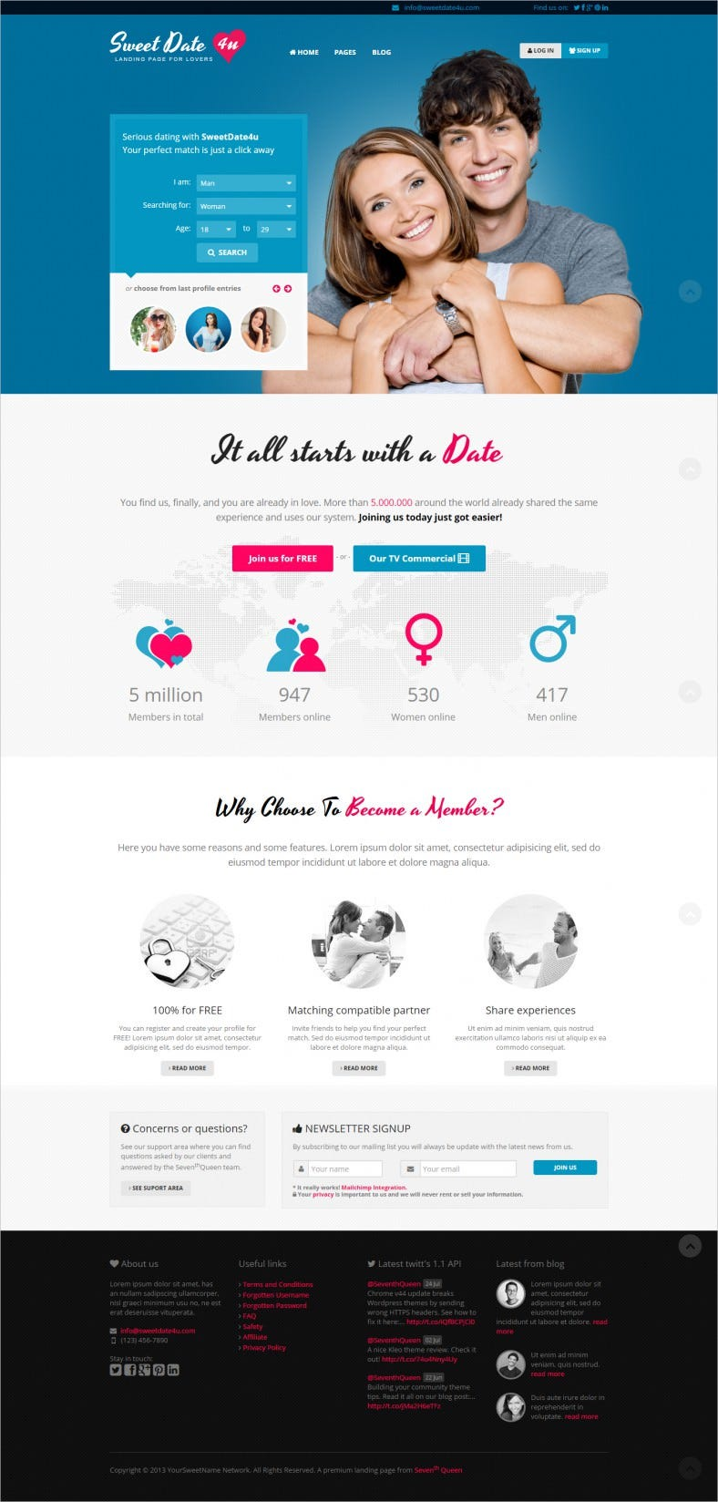 mailchimp integration dating landing page template 788x1648