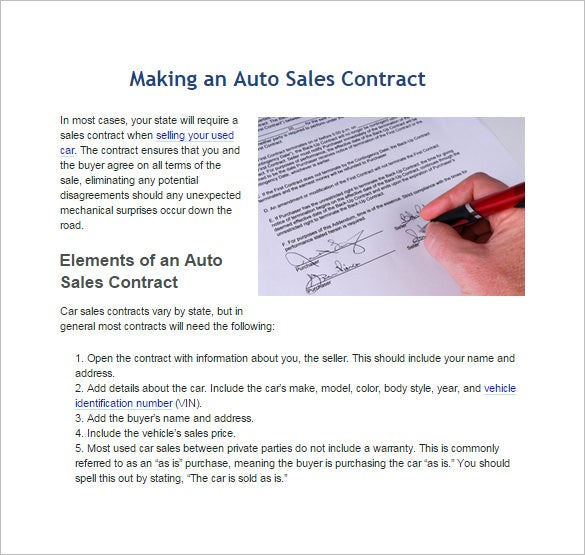 making an auto sales contract template