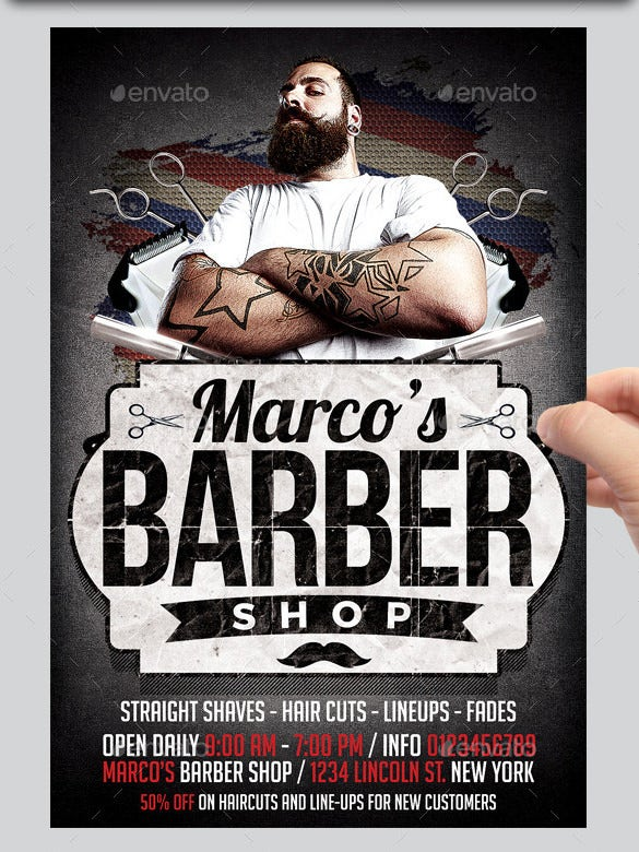 marcos barber shop flyer template