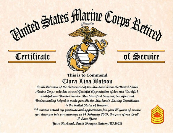 9 retirement certificate templates doc pdf free for Marine corps powerpoint template