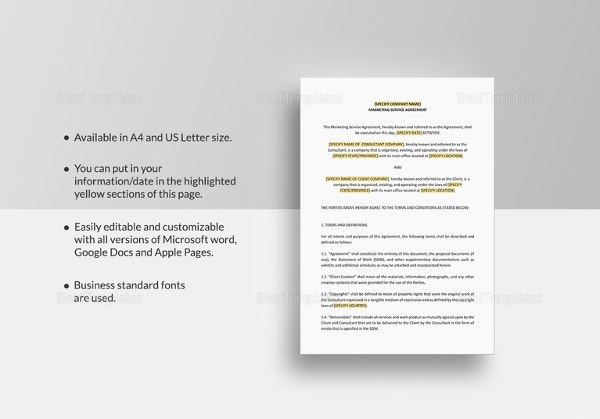20 marketing agreement template free sample example format marketing services agreement template in pages for mac platinumwayz
