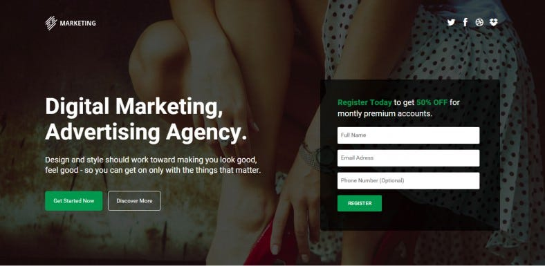 marketing startup landing page template 788x385