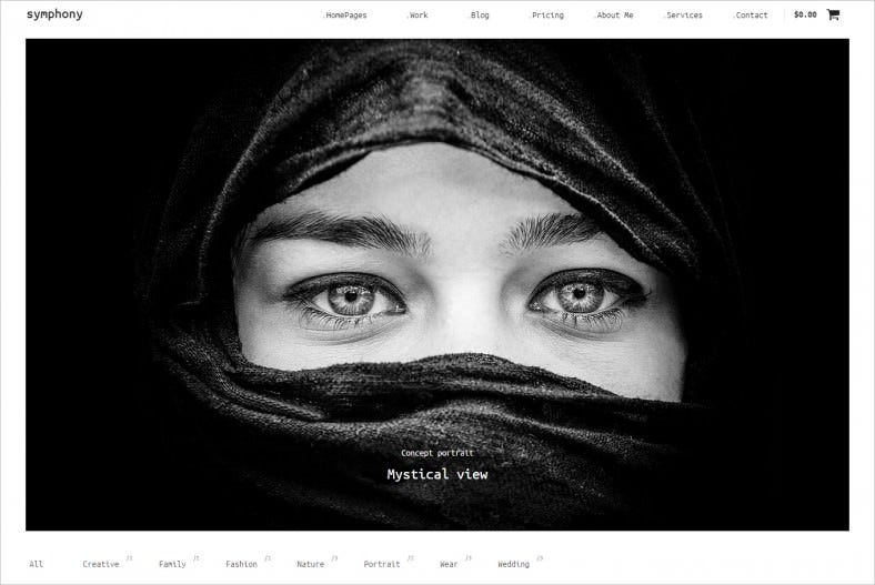 Masonry Plugin Integrated Photography WordPress Template