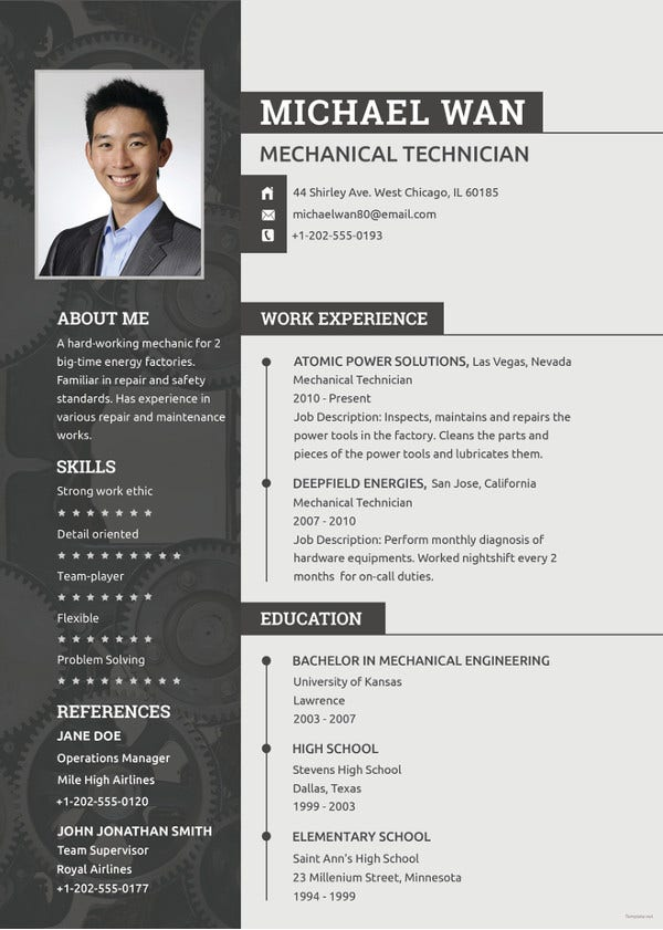 mechanical technician resume template