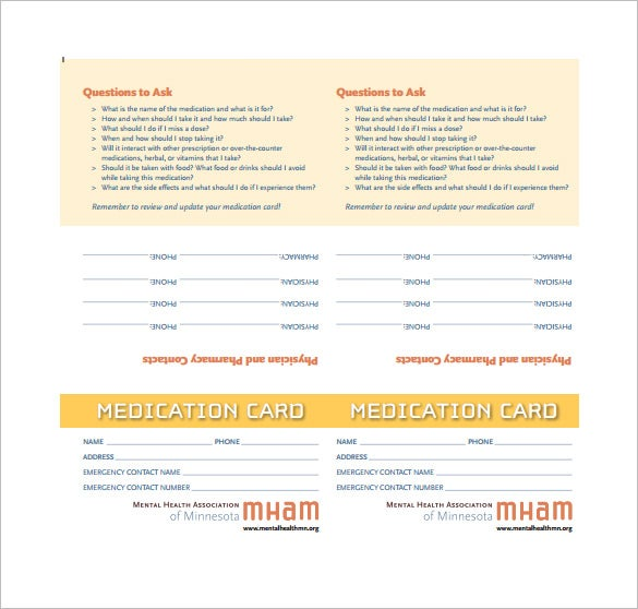 Medication Card Template 10 Free Printable Word PDF PSD EPS – Contact Card Template for Word