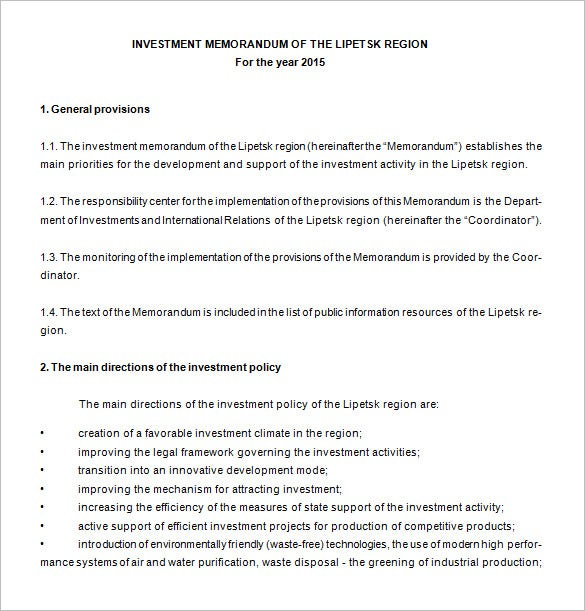 memorandum template for investment free download