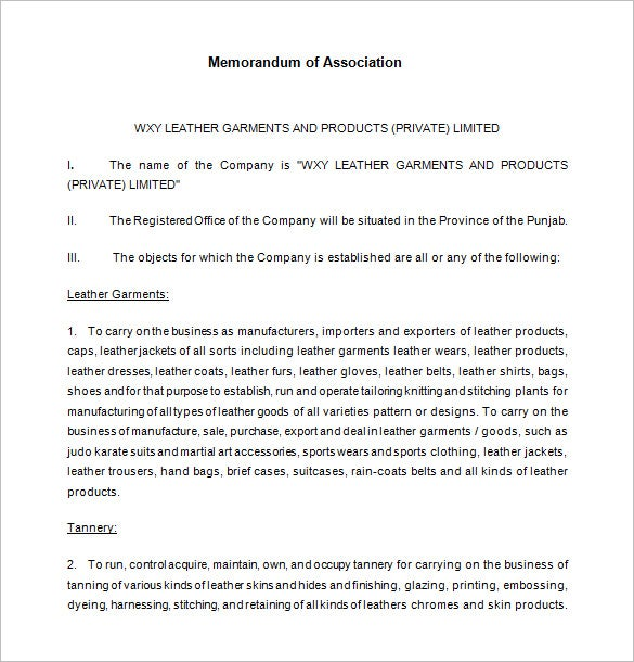 memorandum of association template download