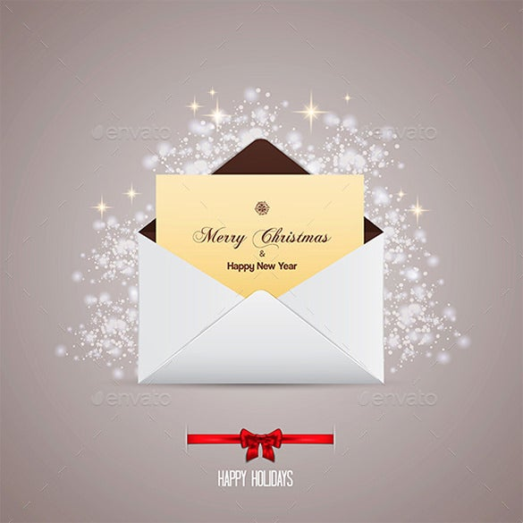 merry christmas gift card vector eps envelope
