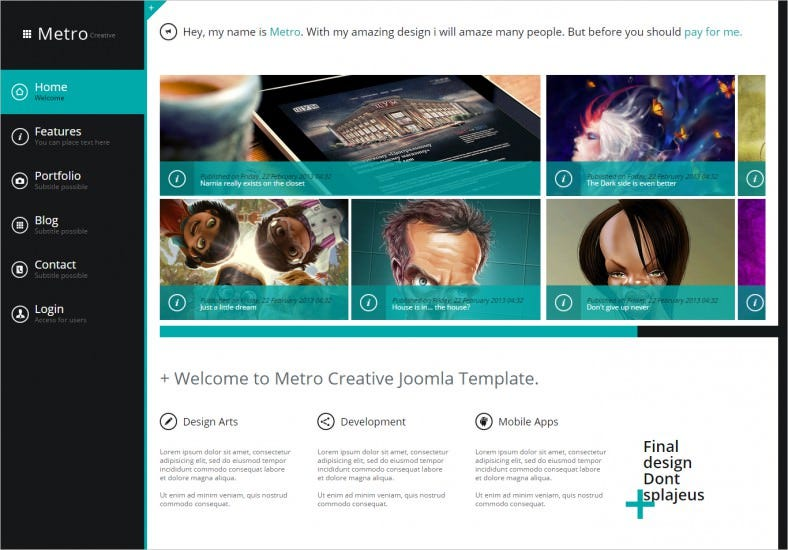 metro creative unlimited colors joomla template 788x550