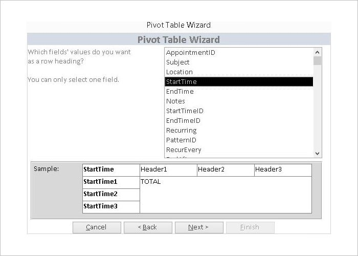 microsoft access basic pivot table database template