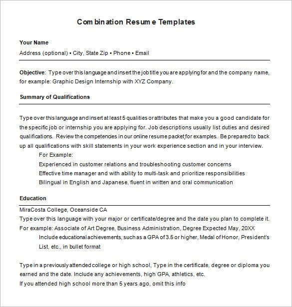 microsoft combination resume template free download - Combination Resume Template