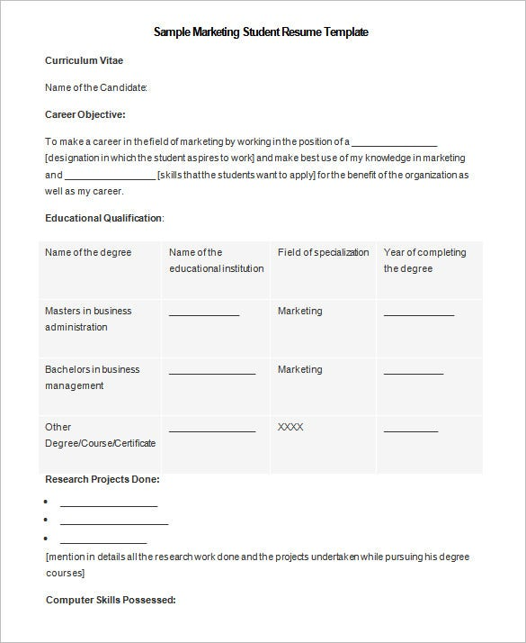 microsoft marketing student resume template example free download - Resume Templates To Download To Microsoft Word For Free