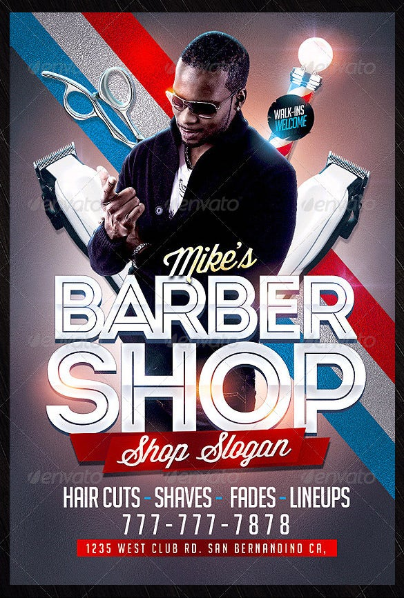 mikes barber shop flyer template