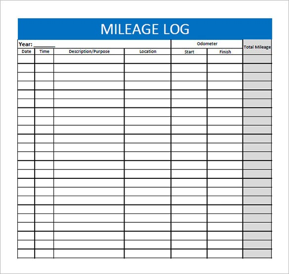 mileage log sheet template