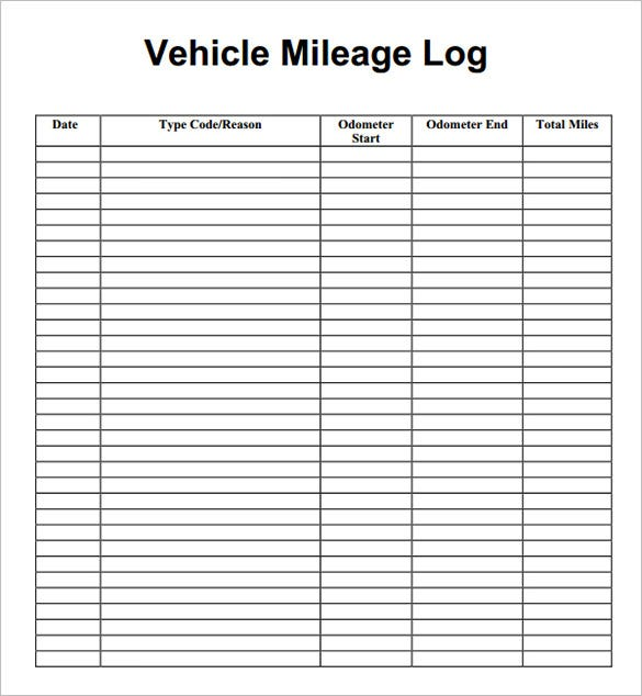 Mileage Log Form - Template