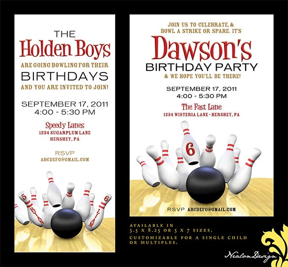 bowling invitation template 25  Outstanding Bowling Invitation Templates