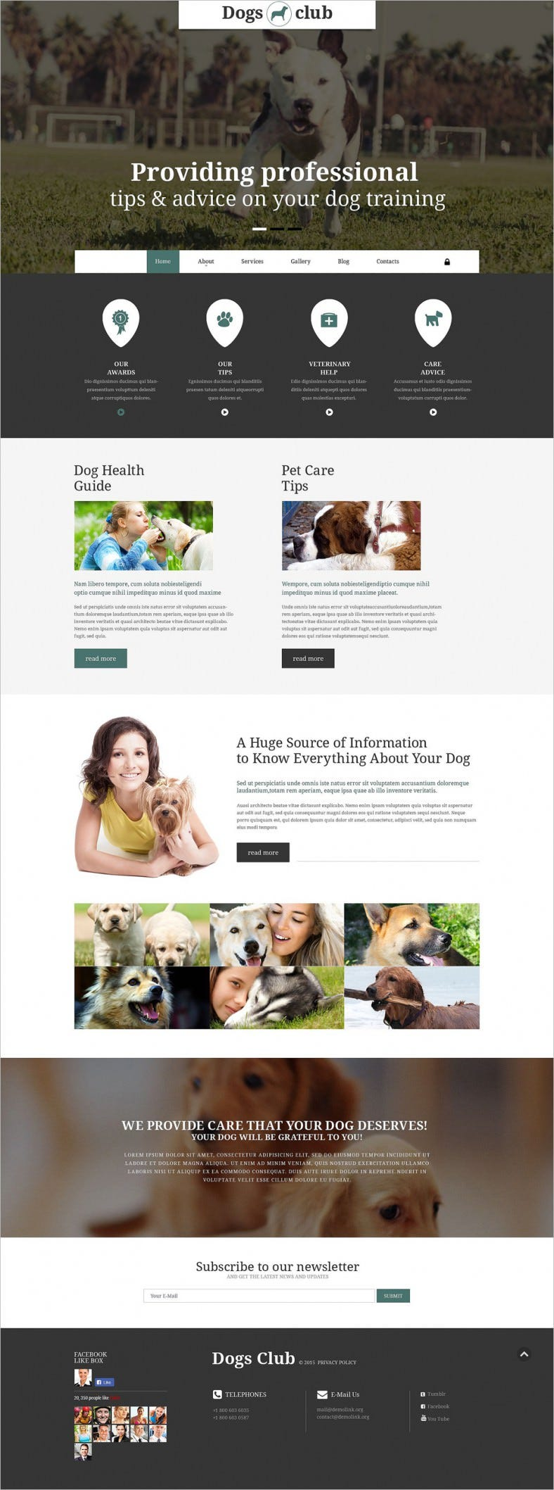 Modern Animated Portfolio Dogs Club Joomla Theme
