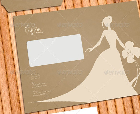 modern bride corporate identity wedding envelope psd template