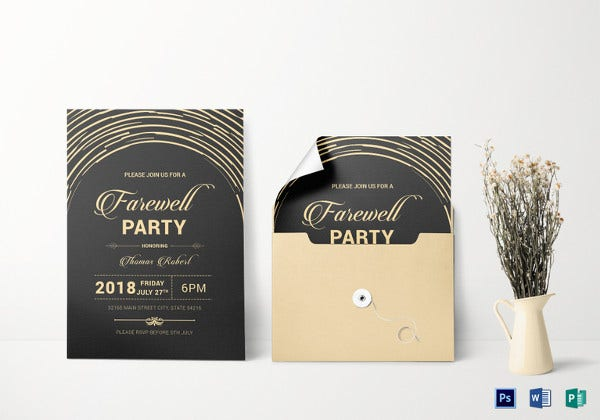 modern farewell party invitation template