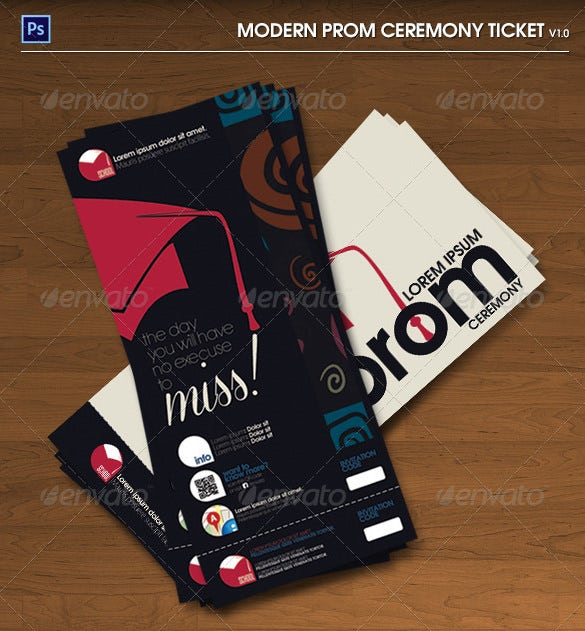 Modern Prom Ceremony PSD Ticket  Prom Tickets Design