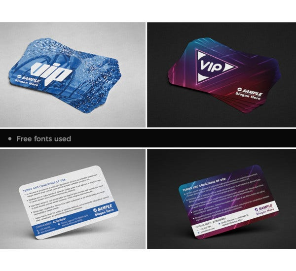 modern two vip member card templates