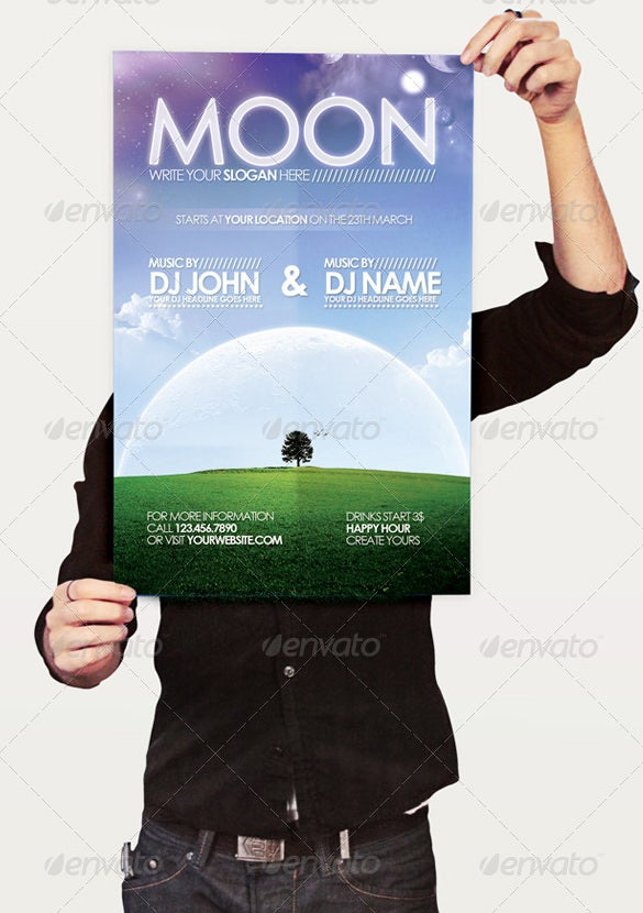 moon flyer mockup template
