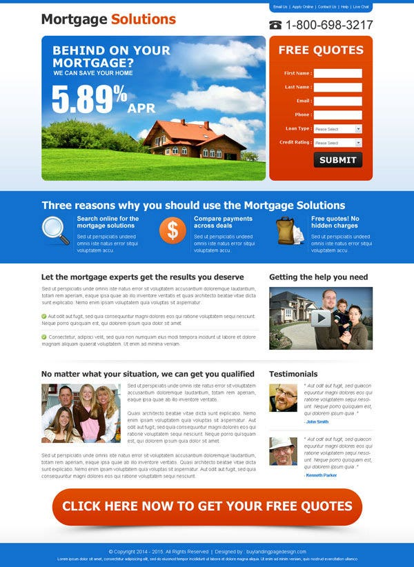 Mortgage Solutions Landing Page Template