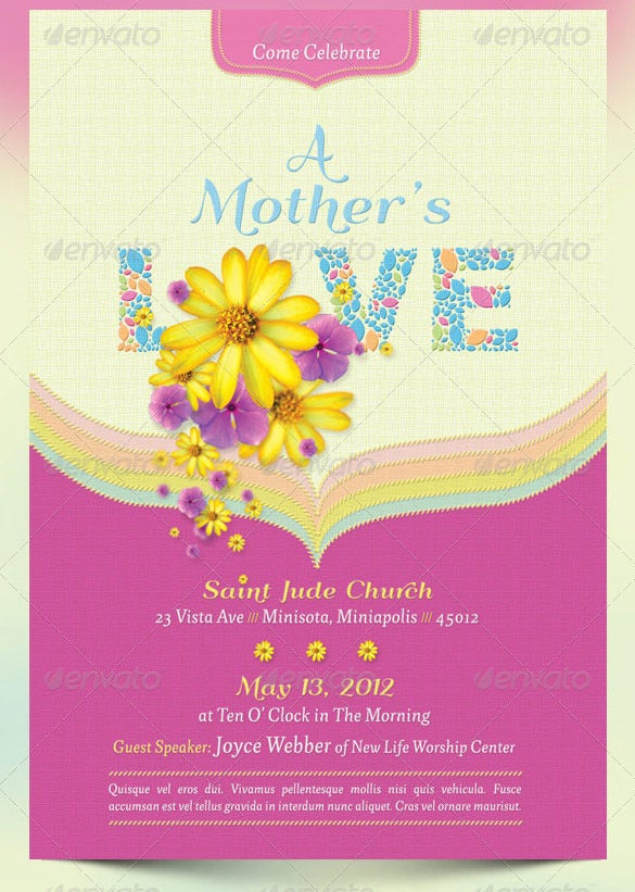mothers day love flyer template