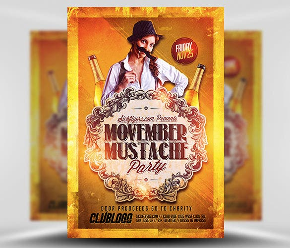 movember mustache advertising flyer