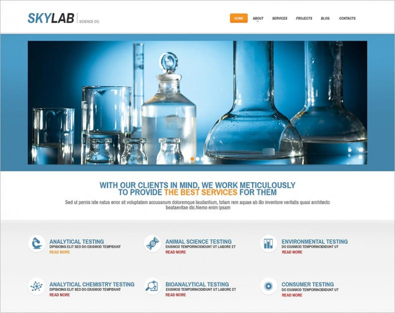 multi purpose chem lab wordpress theme 788x623