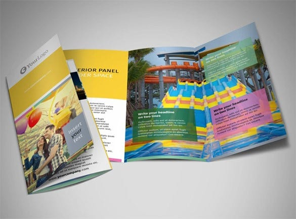 multicolour tri fold brochure template for travel agency