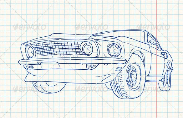 muscle paper car illustration vector eps 4