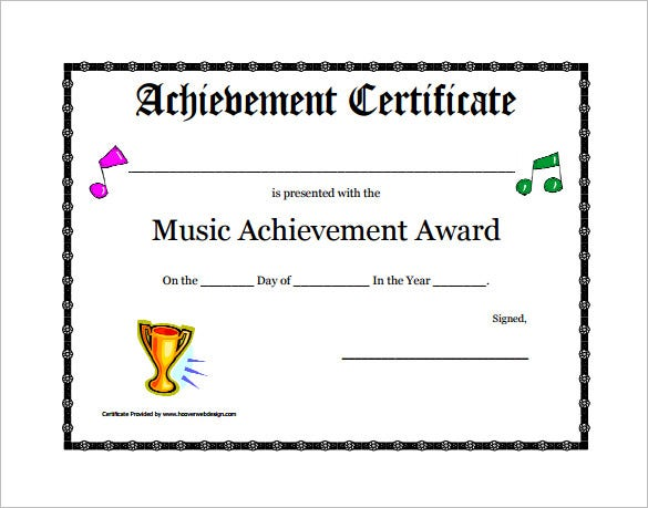 printable music achievement award certificate template download