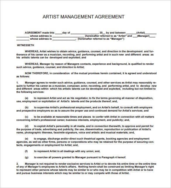 music artist management contract pdf download