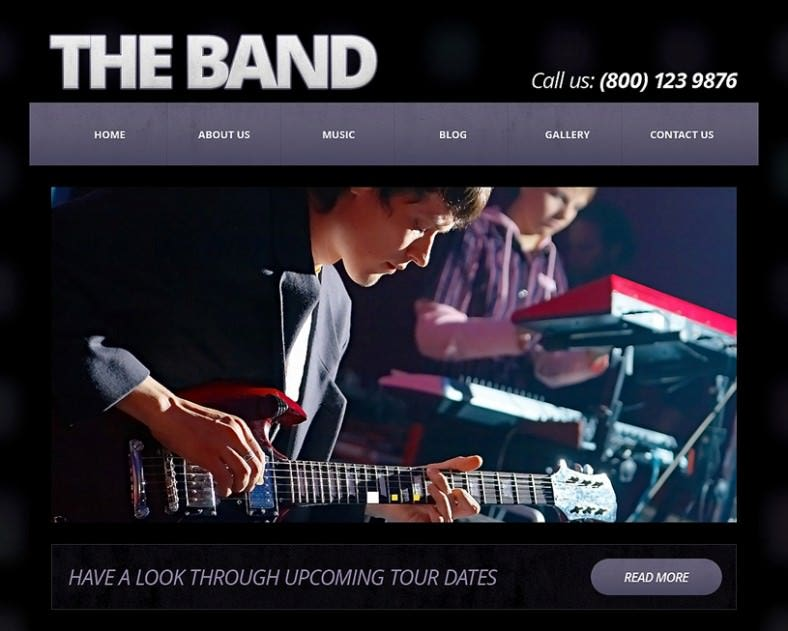 music band responsive joomla template 788x631