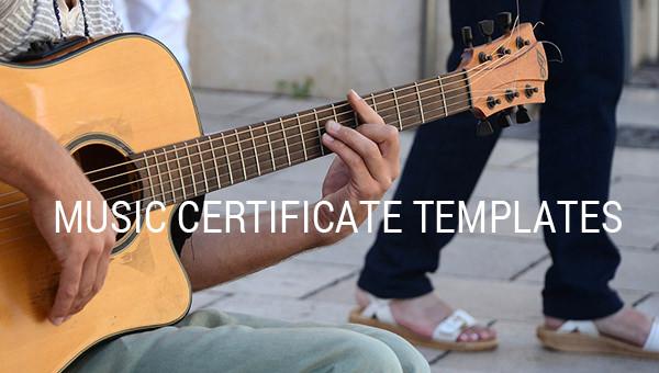 music certificate template.