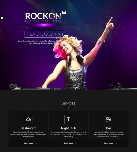 music club rockon website html template