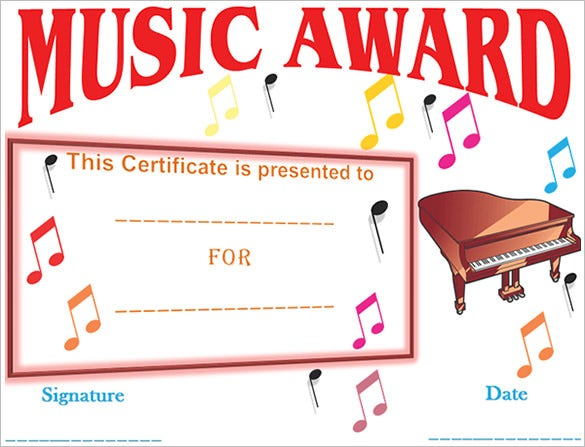 music festival certificate template download