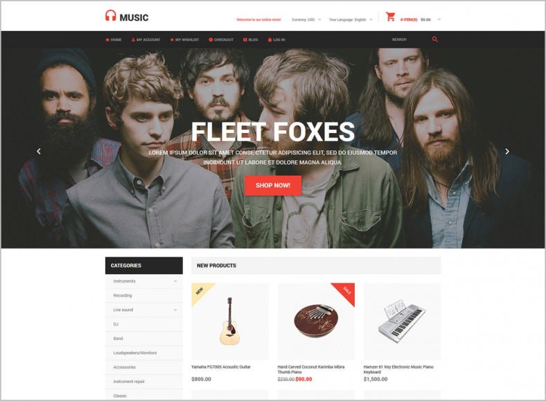 Music Store eCommerce Magento Theme