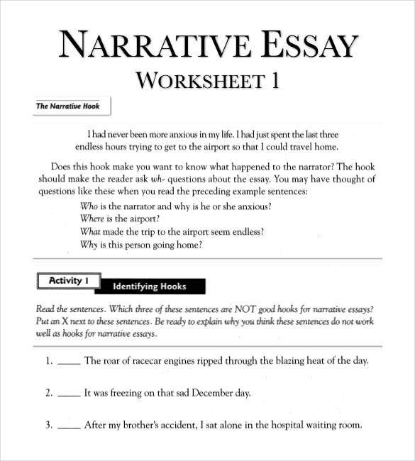 narrative essay outline worksheet in pdf