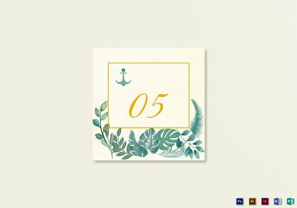 nautical table card photoshop template